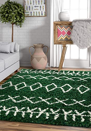 Well Woven Olivia Soft Plush Moroccan Shag 4×5 3'11'' x 5'3'' Area Rug Green