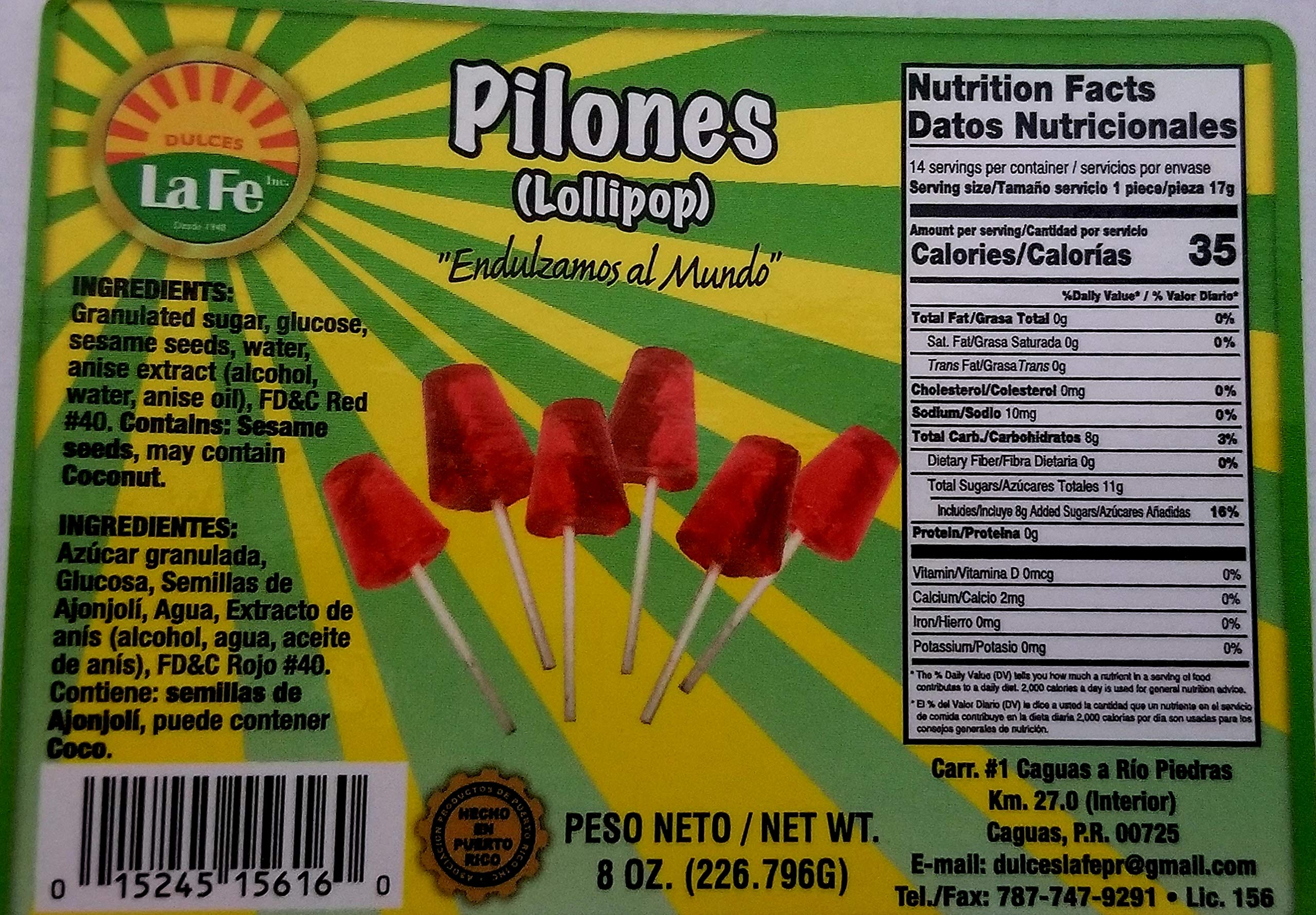 Amazon.com : Lolipops (Pilones) By Fabrica De Dulces La Fe (12-18 Pieces) 8 Oz Pack : Suckers And Lollipops : Grocery & Gourmet Food