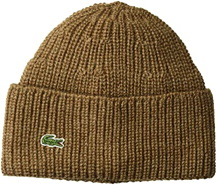 eaa1338b5d Lacoste Men's Rib Knitted Contrast Beanie, Dark Renaissance Brown/da, One  Size at Amazon Men's Clothing store: