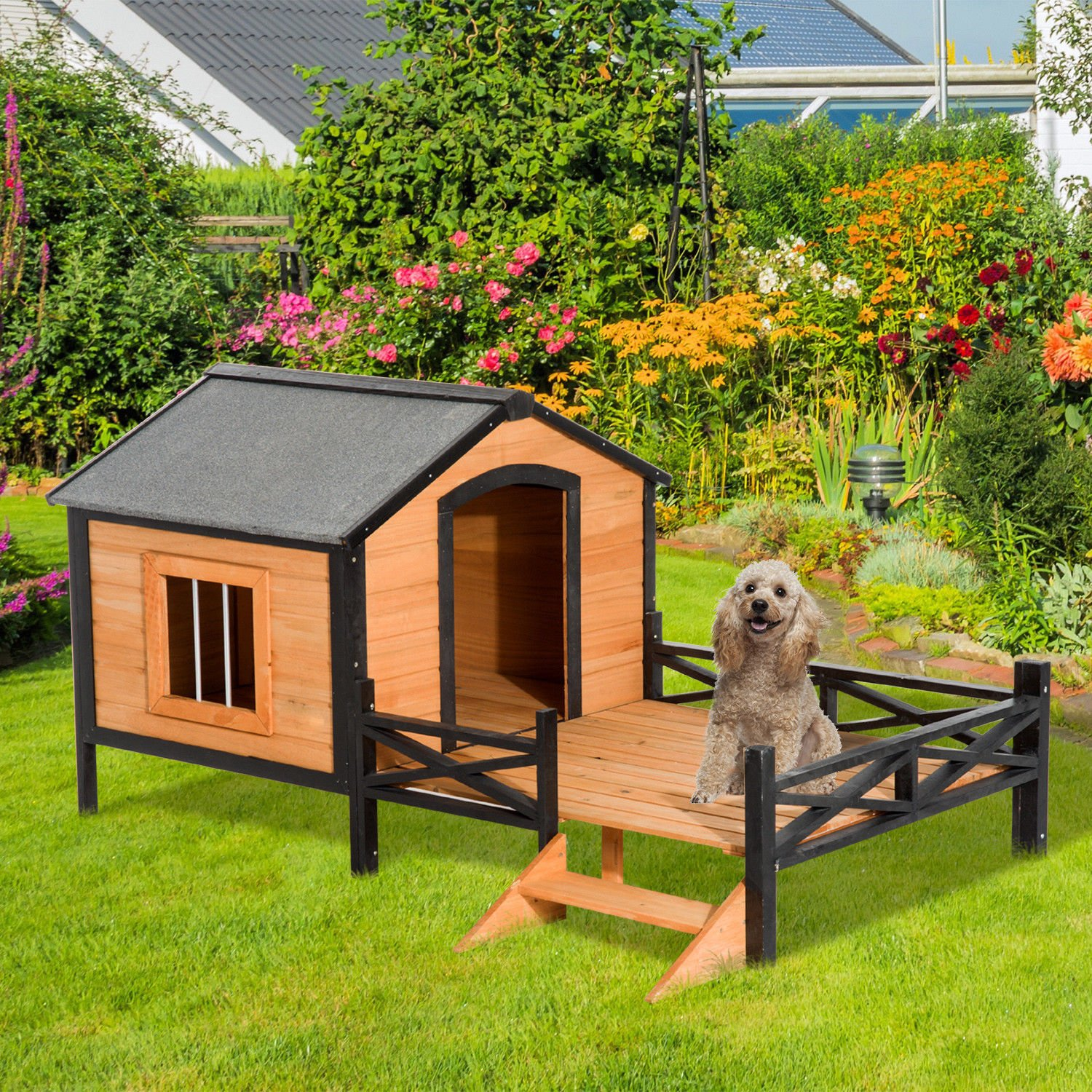 PawHut 67'' Large Wooden Cabin Style Elevated Outdoor Dog House with Porch by PawHut (Image #2)