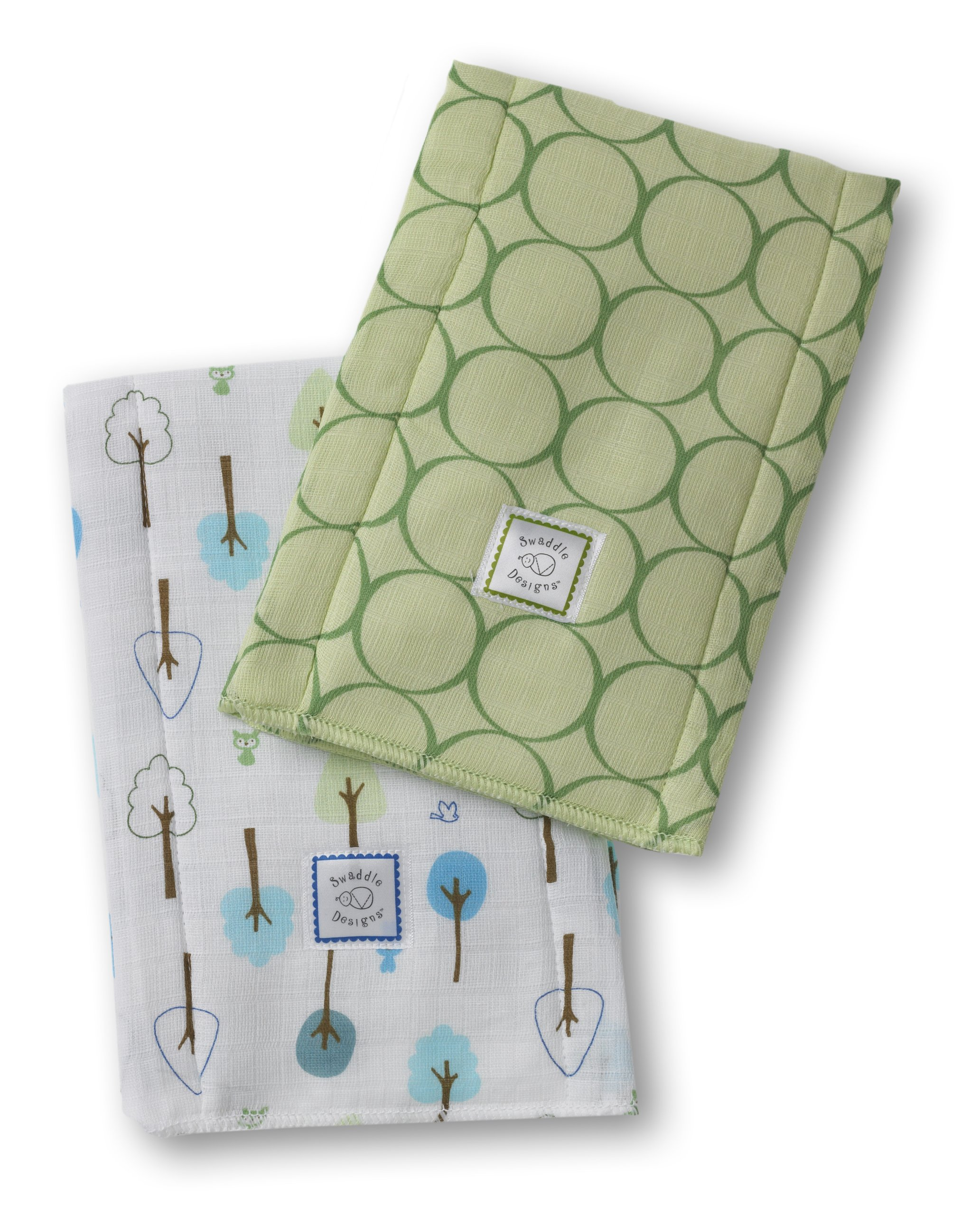 SwaddleDesigns Baby Burpies, Set of 2 Cotton Burp Cloths, Pure Green Mod Circles with Cute and Calm by SwaddleDesigns