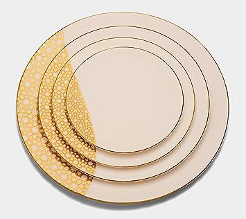 Gold Plated China Porcelain Plate set 5 piece Merdinger Dinnerware Plates With 18K Gold Arabesque  sc 1 st  Amazon.com & Amazon.com | Gold Plated China Porcelain Plate set 5 piece ...