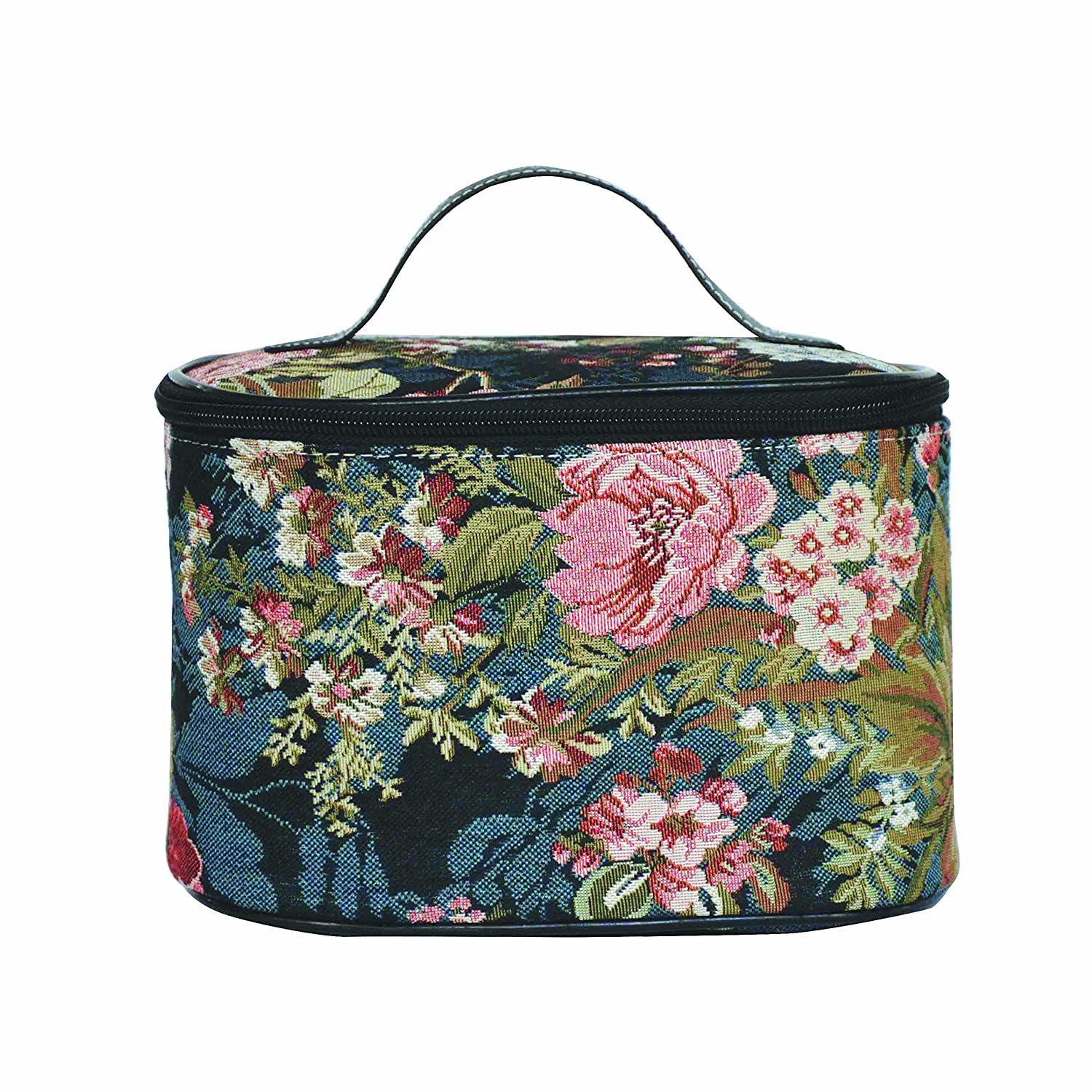Signare Tapestry Toiletry Bag Makeup Organizer bag for Women with Peony Flower in Black Background Design (TOIL-PEO)