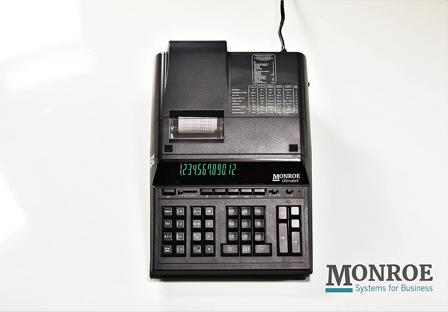 (1) Monroe 12-Digit Print/Display UltimateX, A Top-Of-The-Line Heavy-Duty Calculator With Reprint & Editing Capabilities in Black Monroe Systems for Business LYSB01ITOP1DO-ELECTRNCS