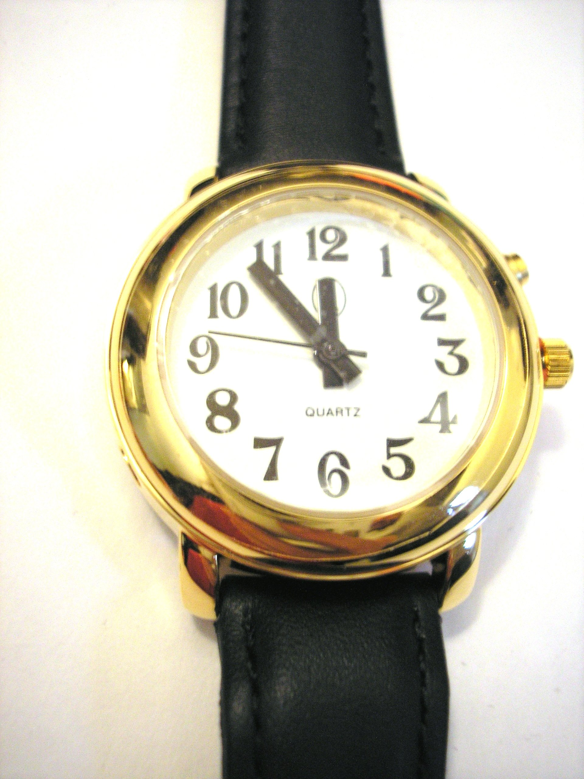 Ladies Deluxe Talking Wrist Watch Gold Tone w/Black Leather Band by APP