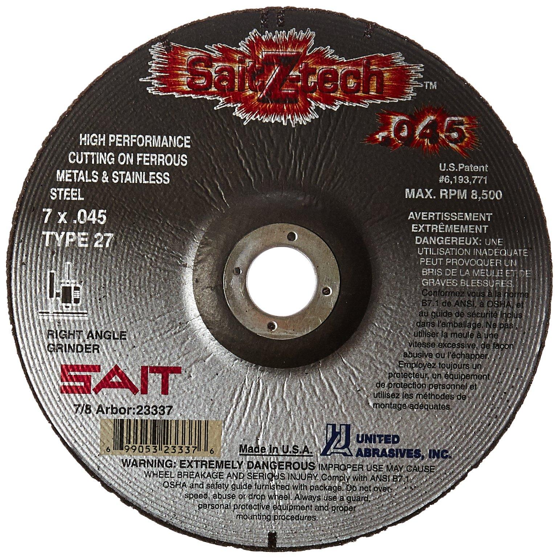 United Abrasives-SAIT 23337 Type 27 7-Inch x .045-Inch x 7/8 Z-Tech High Performance Cutting Wheel, 50-Pack by United Abrasives- SAIT (Image #1)
