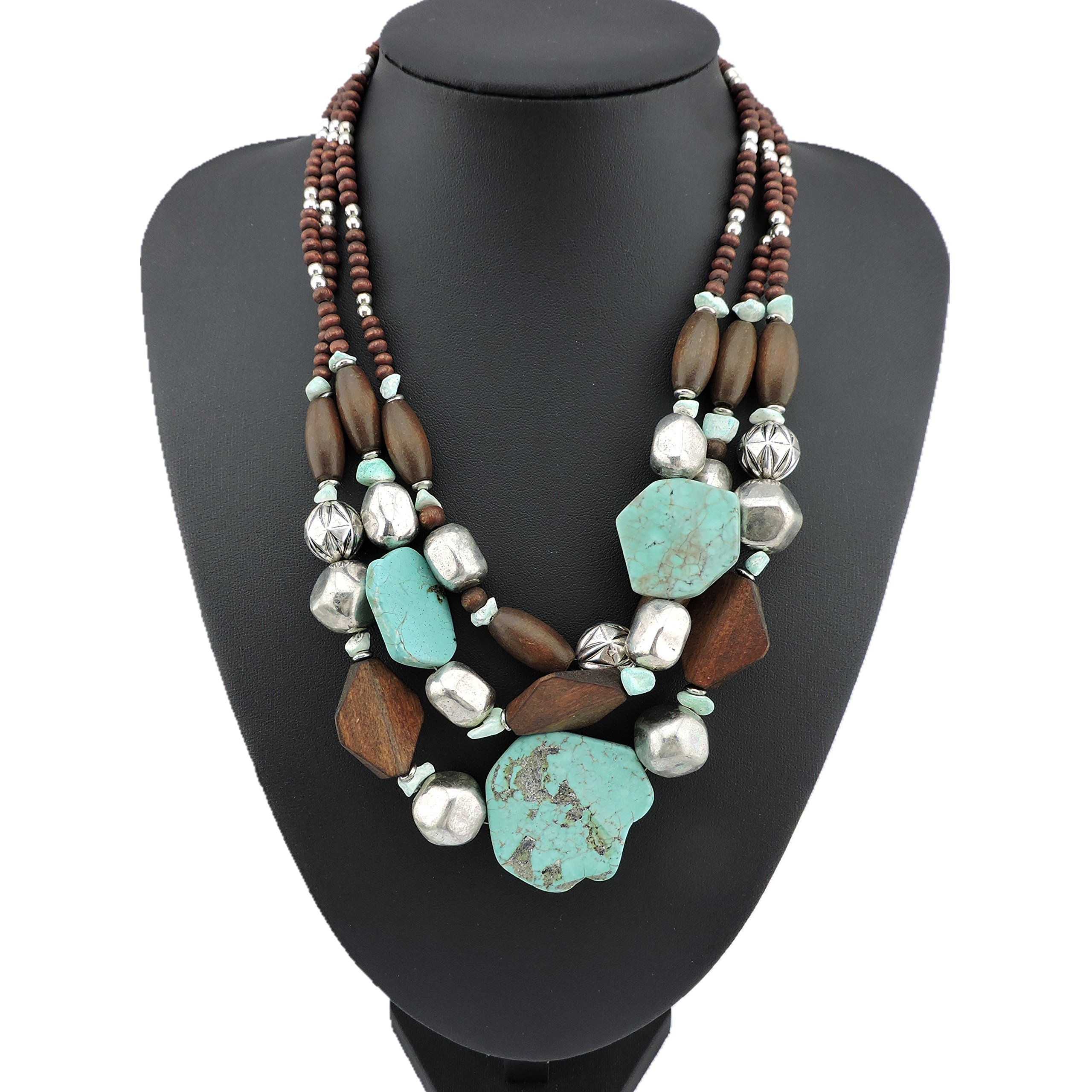 BOCAR Personalized Layered Strands Turquoise Statement Chunky Necklace for Women Gifts (124)