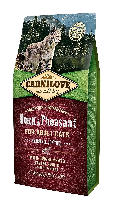Carnilove - Croquettes pour Chat adult hairball control au canard et au faisan - 6 kg