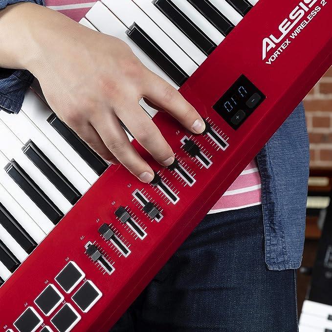 Alesis Vortex Wireless 2 - Controlador Keytar Inalámbrico USB, MIDI de Alto Rendimiento con Suite de Software Premium Incluida, color rojo: Amazon.es: ...
