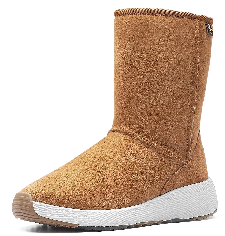 AU&MU Women's Full Fur Sheepskin Suede Winter Snow Boots B074TFTBG3 7 B(M) US|Chestnut 5