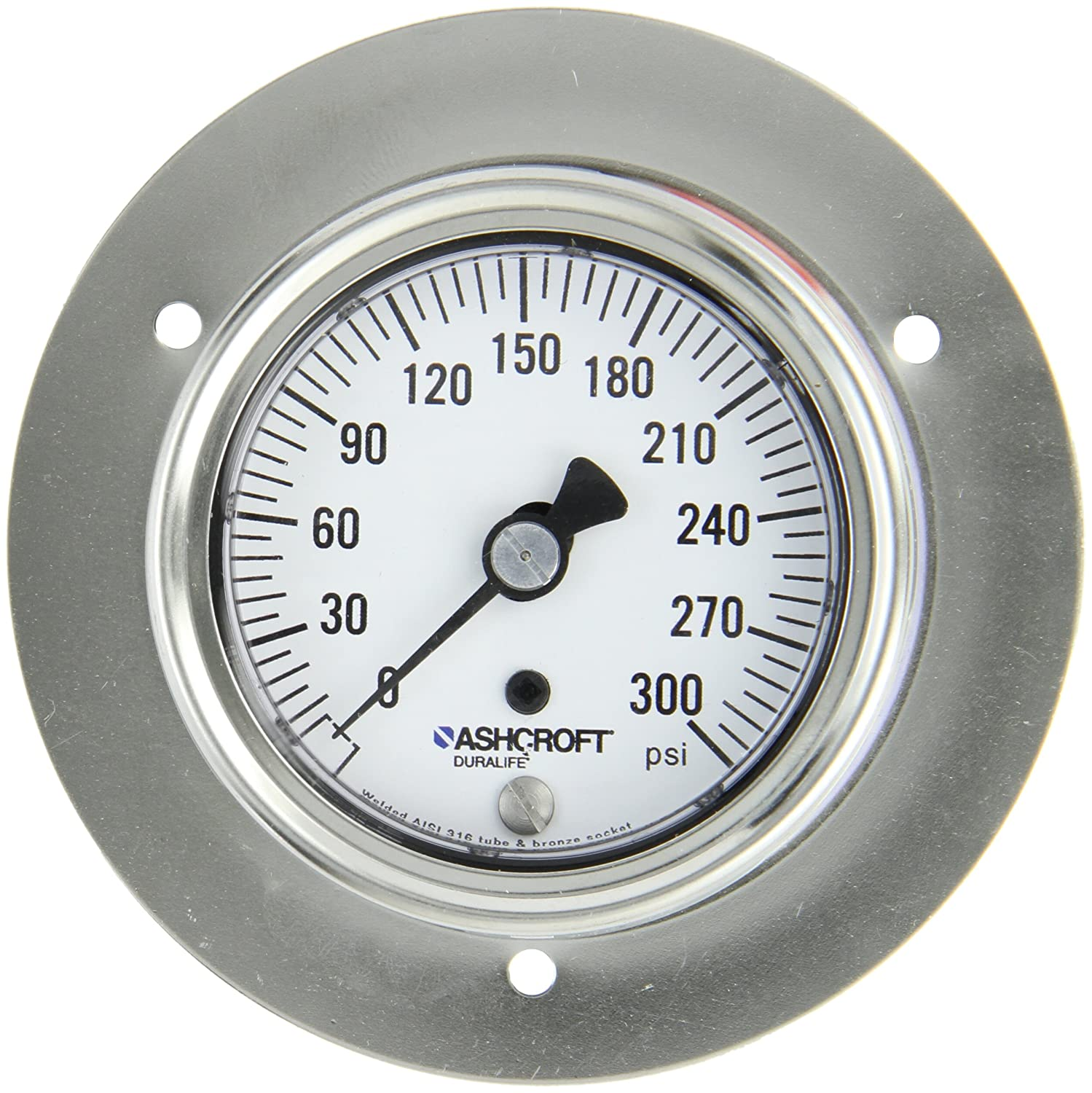 ASHCROFT Duralife Type 1009 Stainless Steel Case Dry Filled Pressure Gauge 2.5 Dial Size Back Flange Mounting Stainless Steel Tube and Bronze Socket 1//4 NPT Lower Back Connection 0//300 psi Pressure Range 2.5 Dial Size 1//4 NPT Lower Back Connection