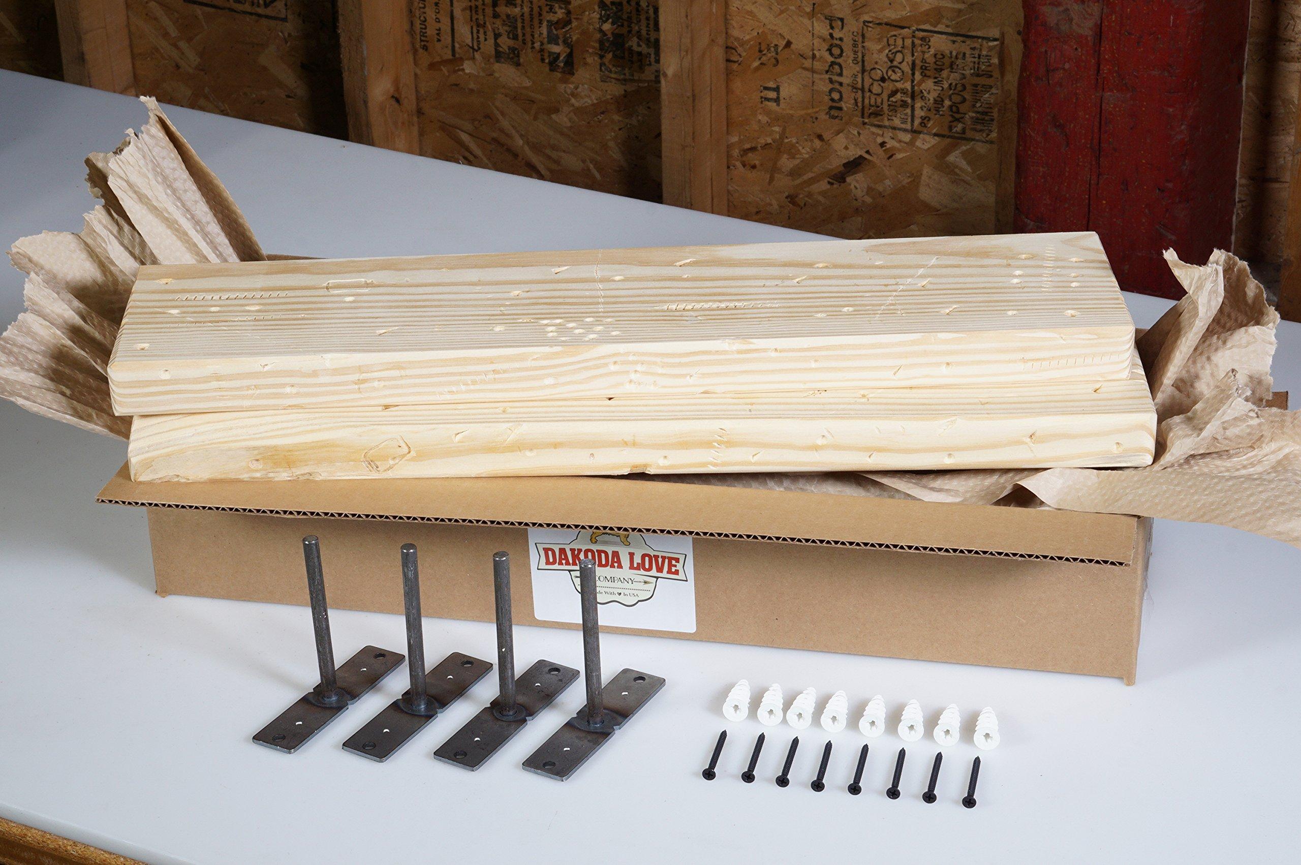 DAKODA LOVE 5.25'' Deep Rugged Distressed Floating Shelves, USA Handmade, Ready to Stain, 100% Countersunk Hidden Floating Shelf Brackets, Beautiful Grain Pine Wood Rustic (Set of 2) (24'', Unfinished)