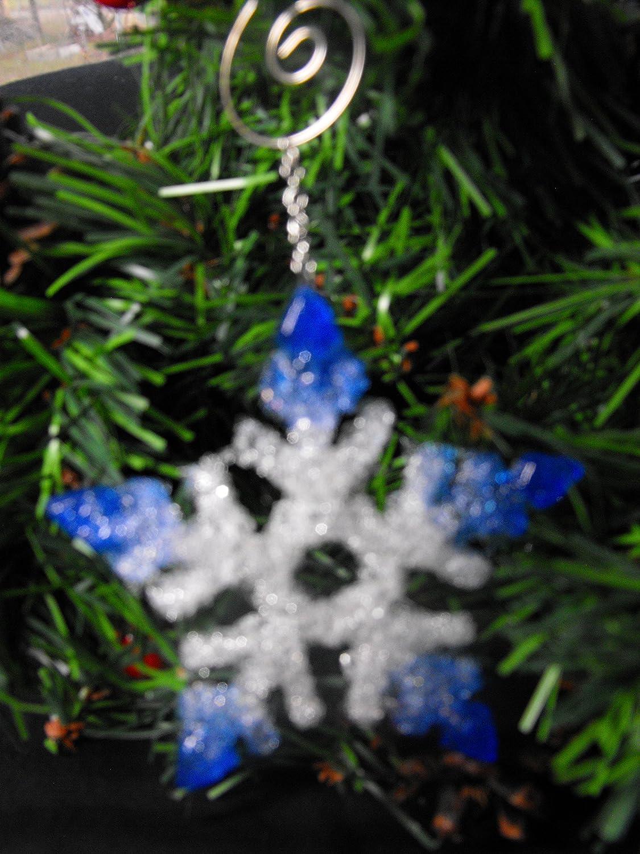Amazon Com Fused Glass Snowflake Christmas Ornament Medium Blue