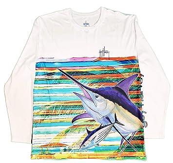 684b4161 Guy Harvey Men's Long Sleeve Performance Shirt (Assorted Designs)