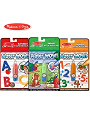 Melissa & Doug Water Wow! Reusable Color with Water On the Go Activity Pad 3-Pack, Animals, Alphabet, Numbers
