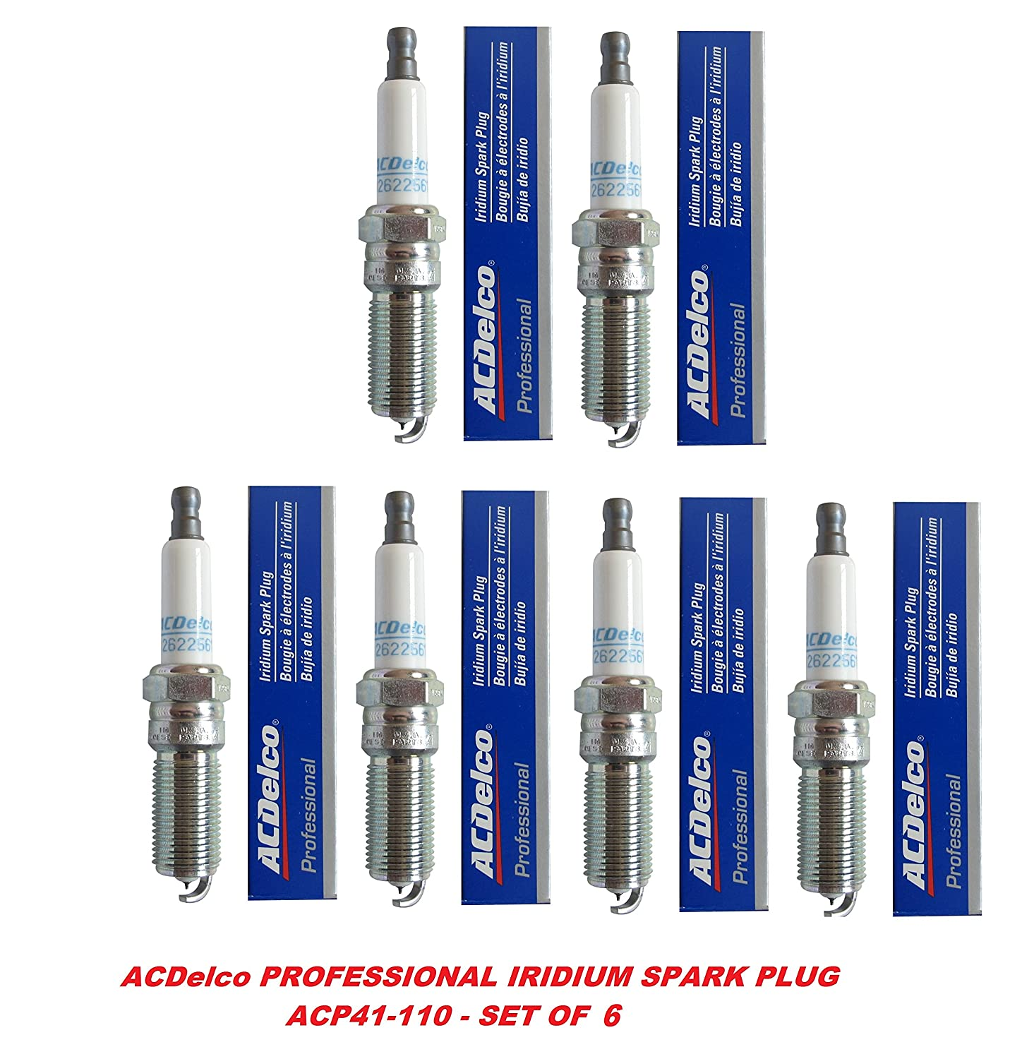 Amazon.com: Acdelco 41-110 OEM Gm 12621258 Professional Iridium Spark Plug - Set of 6: Automotive