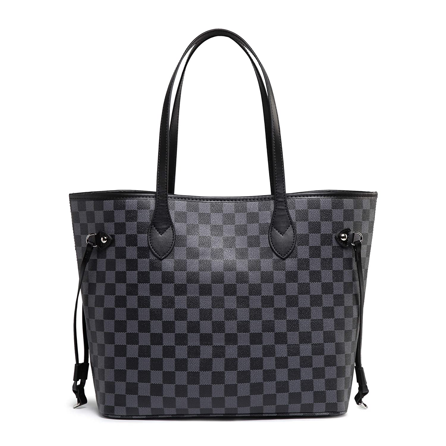 6afbb7d155cc Daisy Rose Checkered Tote Shoulder Bag with inner pouch - PU Vegan Leather