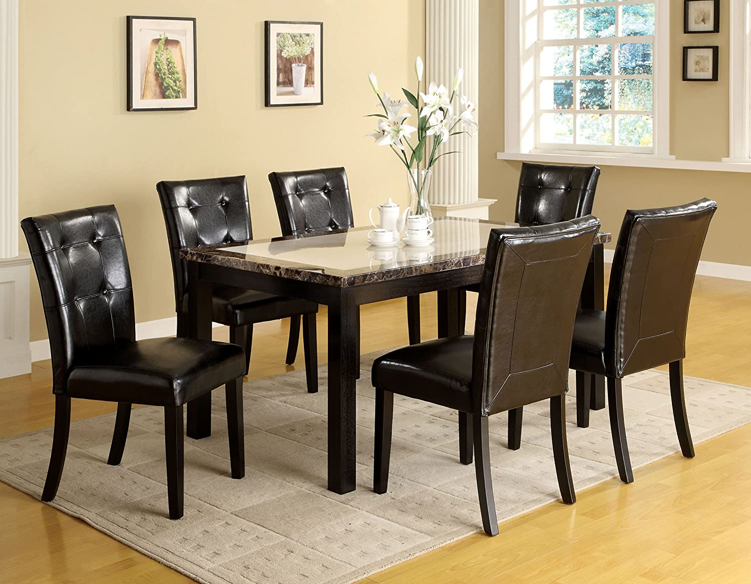 Amazon.com   Furniture Of America Taveren Faux Marble Dining Table, Black  Finish   Tables