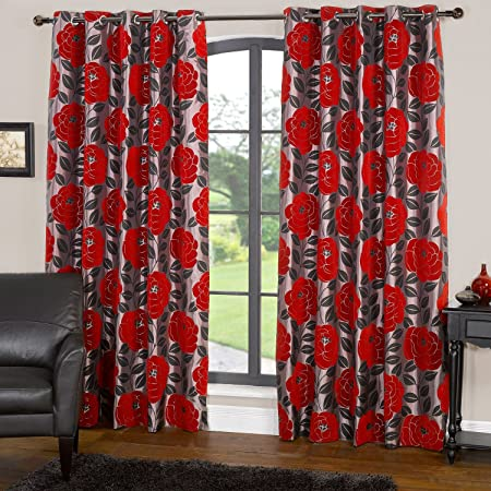 Modern Floral Design Red Rose Flower Ring Top Lined Curtains