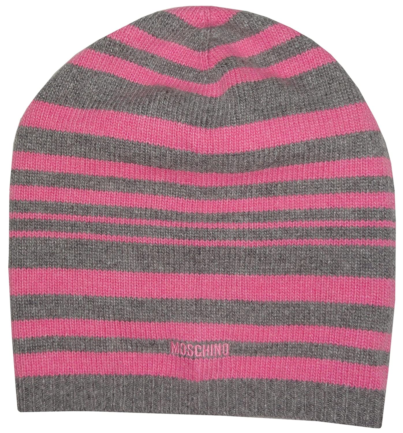 32220d20a46 Moschino Womens Wool and Cashmere Blend Knit Hat Pink and Grey Striped at  Amazon Women s Clothing store