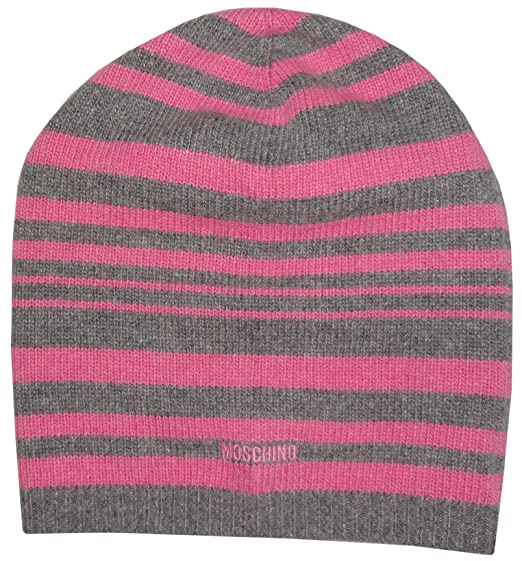 b18be420fb1801 Moschino Womens Wool and Cashmere Blend Knit Hat Pink and Grey ...