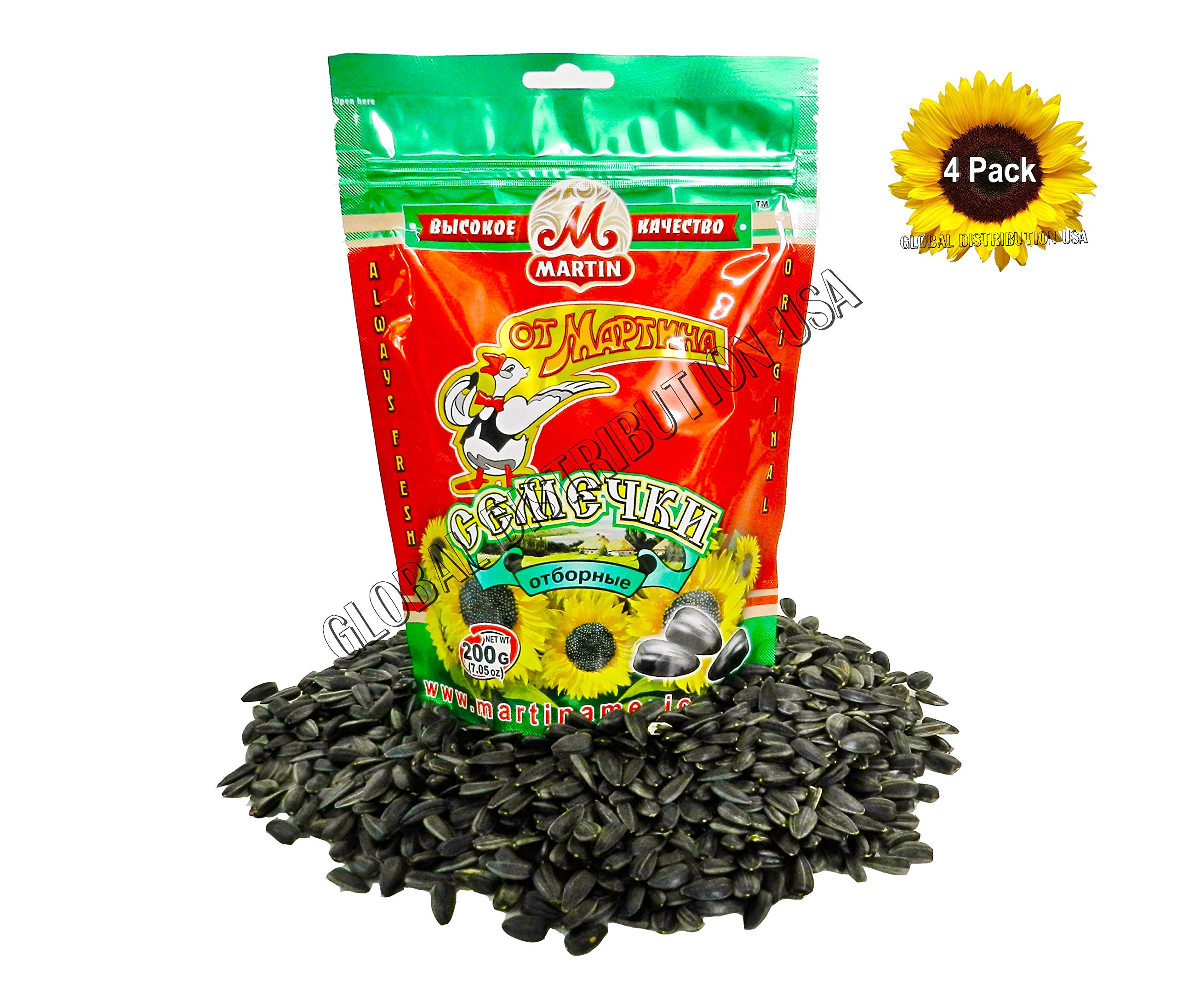 Premium Roasted Sunflower Seeds by Mr.Martin (Ot Martina) Unsalted Non-GMO 200G Pack of 4