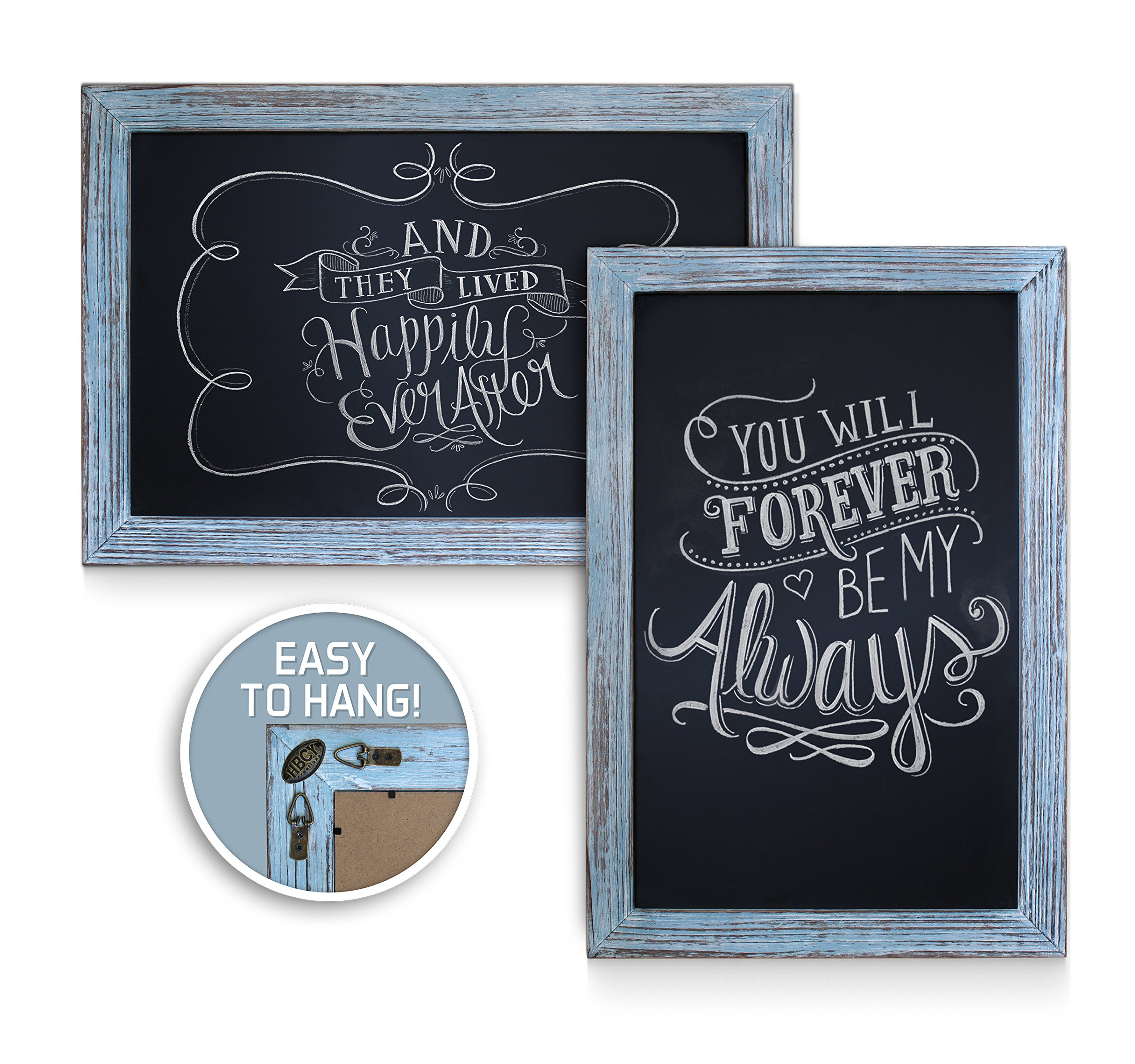 Rustic Blue Magnetic Wall Chalkboard, Extra Large Size 20'' x 30'', Framed Decorative Chalkboard - Great for Kitchen Decor, Weddings, Restaurant Menus and More! … (20''x30'') by HBCY Creations (Image #4)