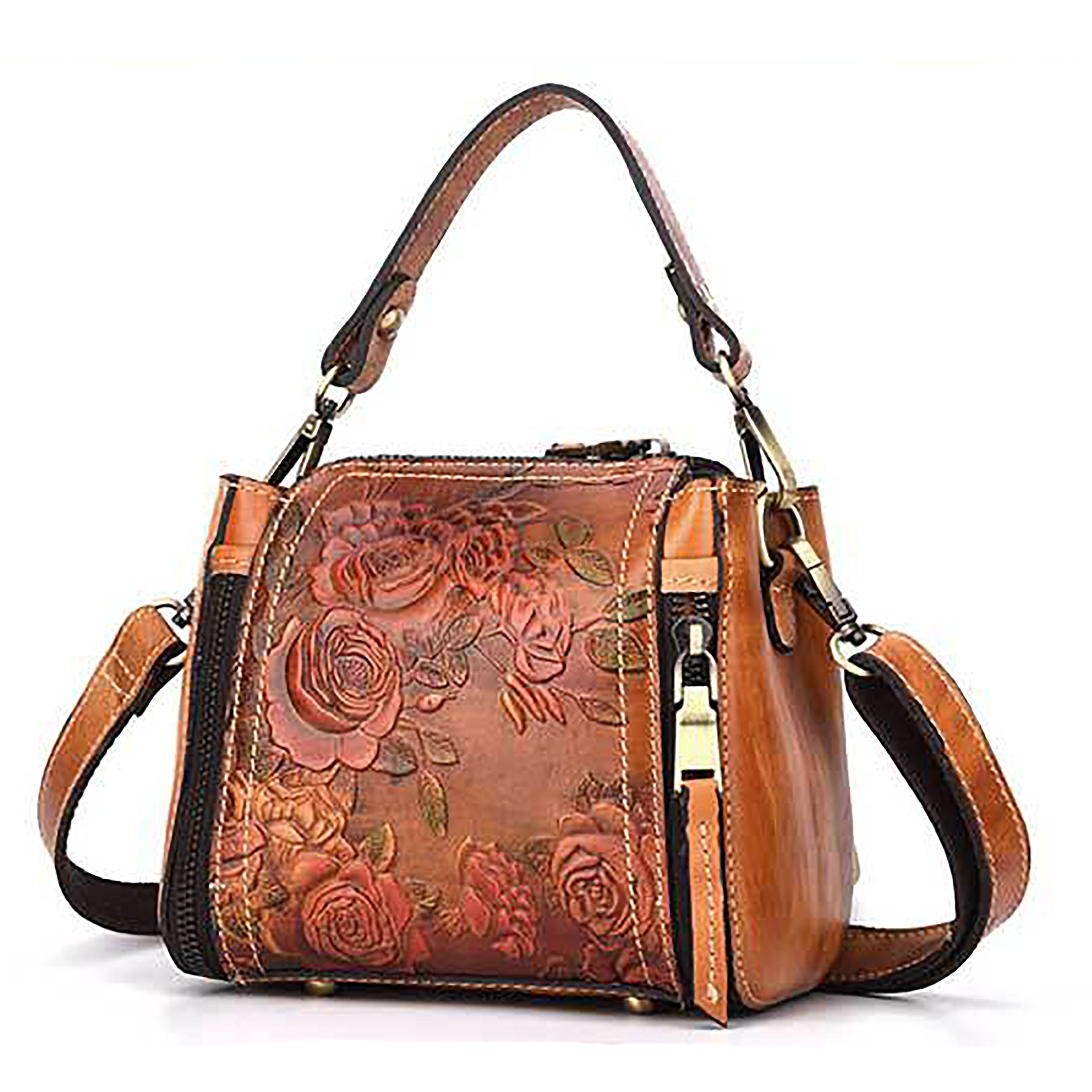 Crossbody Bag for Women Genuine Leather Top Handle Tote Purses Vintage Satchels Handbag(Brown)