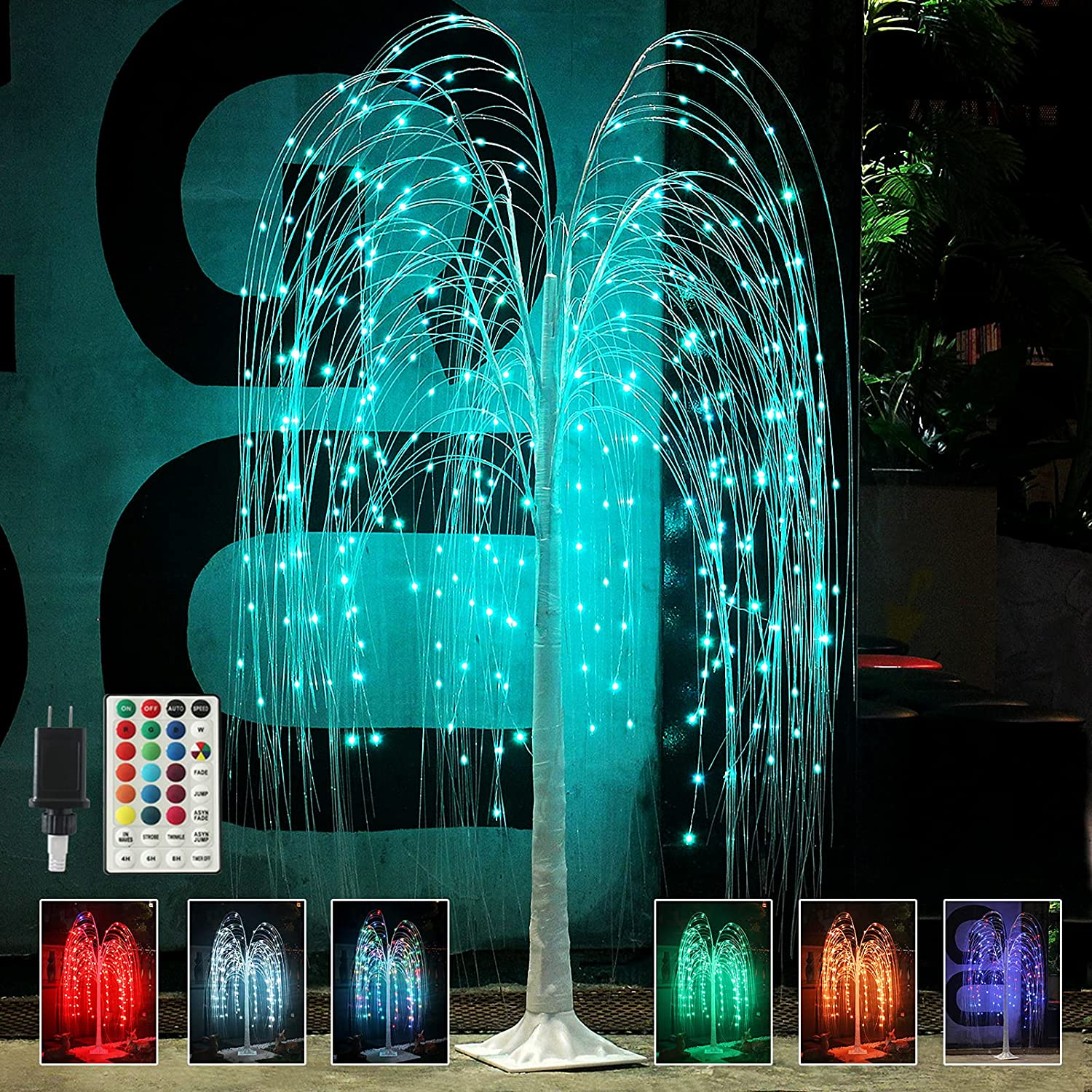 Fashionlite 5FT Colorful Led Lighted Willow Tree Christmas Decoration with 16 Color Changing Timer Remote, String Fairy Light Artificial Tree for Indoor Outdoor Home Holiday Wedding Party Garden Decor
