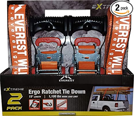 1 PK 300 LBS Working Load 1 IN Cargo Straps Perfect for Moving Appliances 10 FT Lawn Equipment and Motorcycles Everest Premium Cambuckle Straps Ratchet Tie Down Alternative 900 LBS Break Strength
