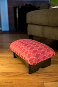 "KR Ideas Padded Foot Stool 7"" Luxury Fabrics (Made in The USA) (Rococo Red- Walnut)"