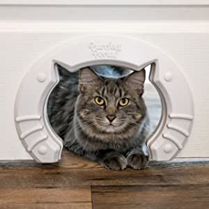 Built in Pet Door for Medium and Large Cats Fits Interior Hollow Core Or Solid Wood Doors Template, Self Drilling Screws, Instructions Included 20cm x 17cm from Purrfect Portal
