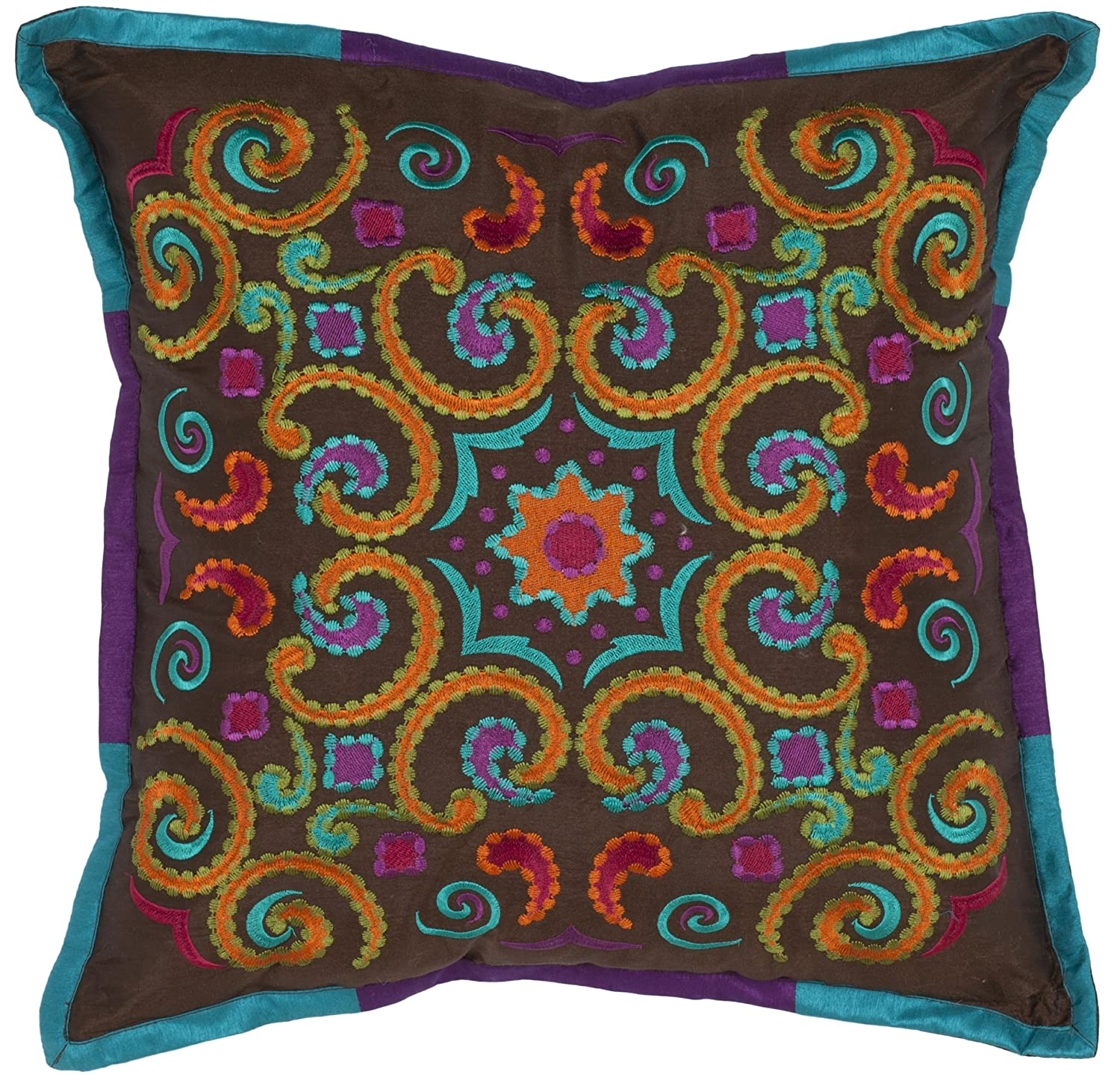 Safavieh Collection Kaleidoscope Pillow, Set of 2, 18 , Brown