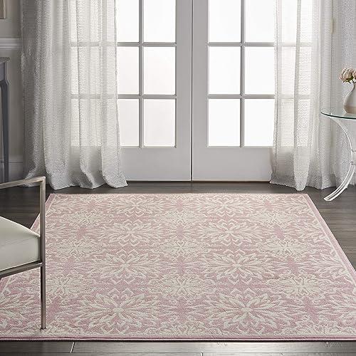 Nourison JUB06 Jubilant Transitional Floral Ivory Pink Area Rug 4 x 6