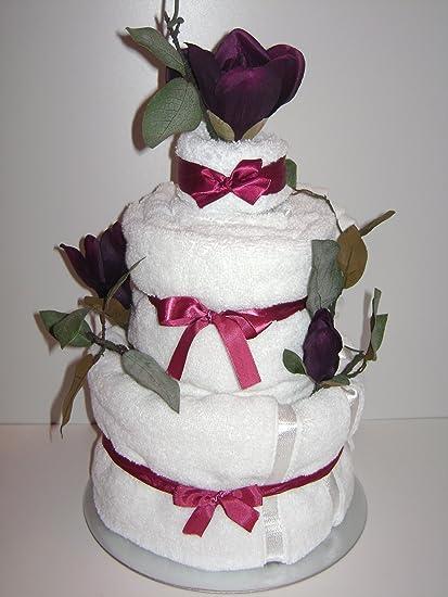 Lujo 3 pisos boda/ocasión especial toalla pastel cesta regalo con malva y flores blancas
