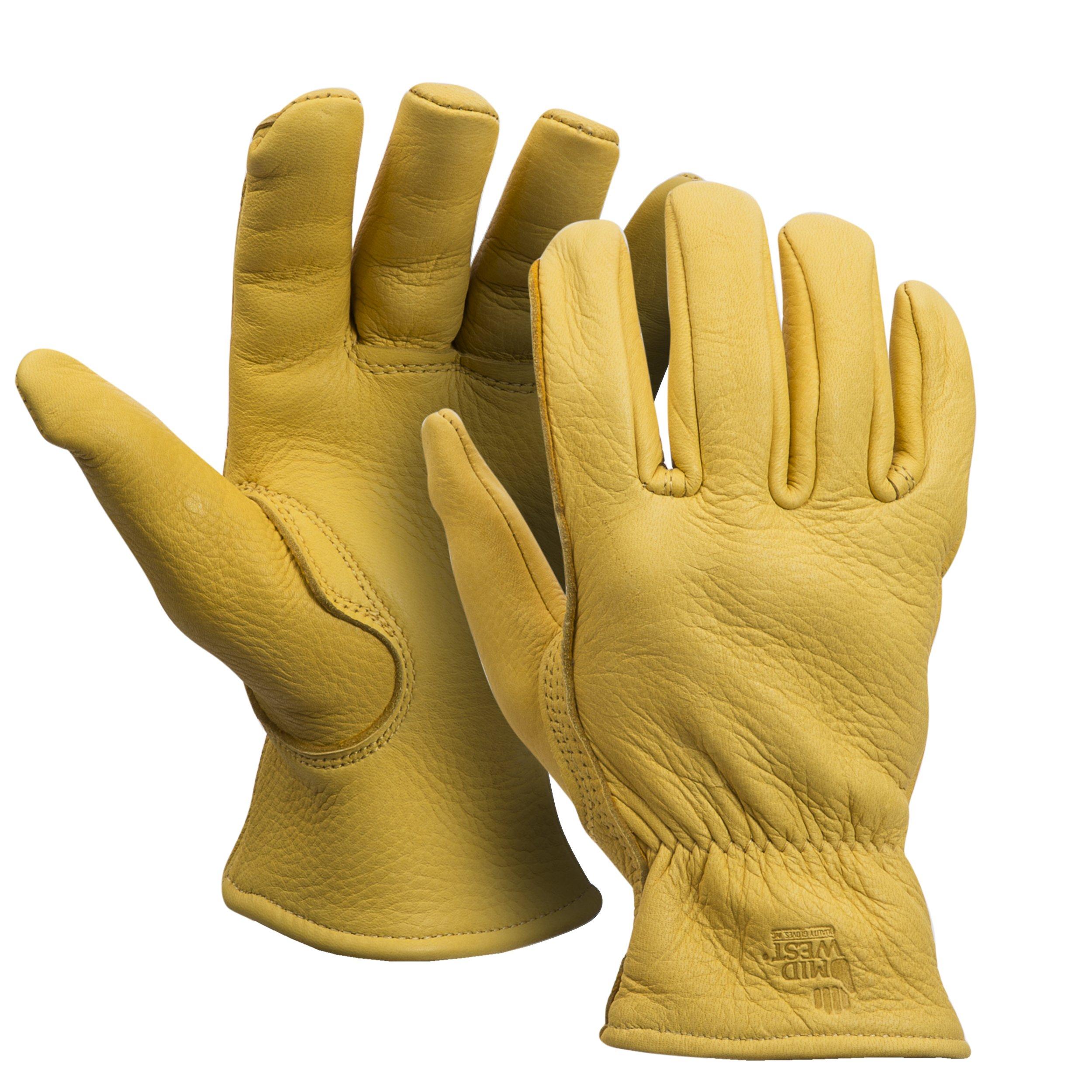 American Made Genuine Deerskin Buckskin Leather Work Gloves , 850, Size: Large by Midwest Gloves & Gear