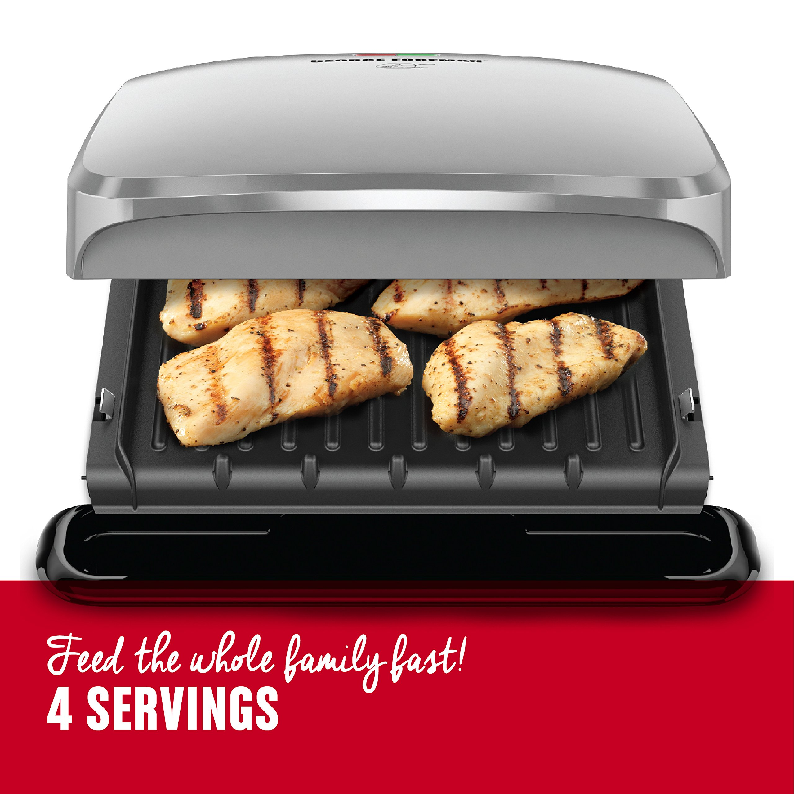 George Foreman 4-Serving Removable Plate Grill and Panini Press, Platinum, GRP3060P by George Foreman (Image #3)