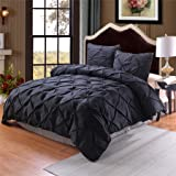 Meeting Story Microfiber Pinch Pleat Pintuck Duvet Cover Set, Bedding Set With Zipper (Queen 90-by-90-inch, Black)
