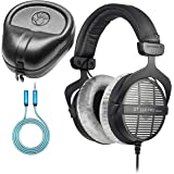 Beyerdynamic DT 990 PRO 250 Ohm Open Back Headphones Bundle with Full-Sized HardBody Pro Headphone Case, and Blucoil 6-FT Hea