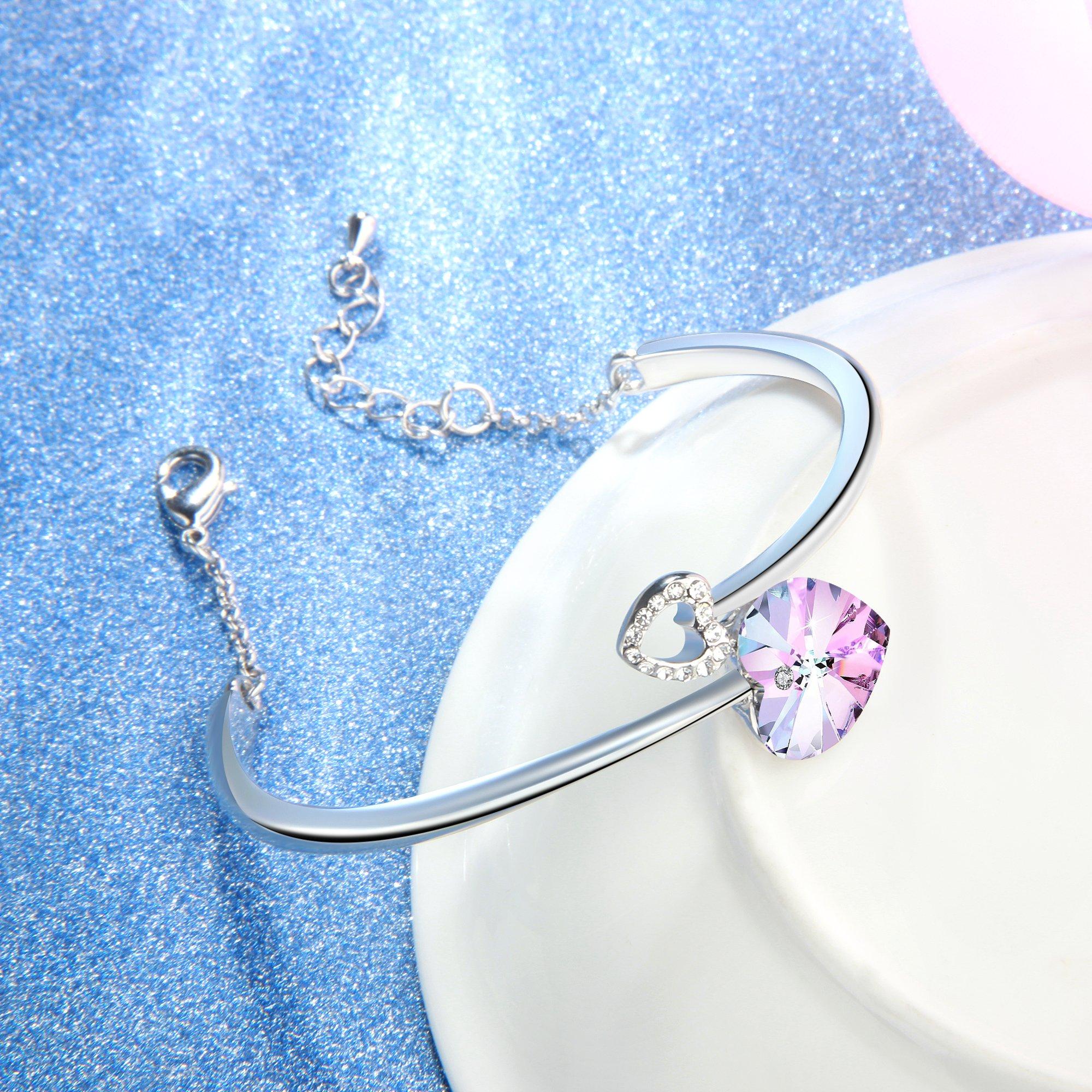 Angelady Love Story Heart Link Bangle Bracelet for Women Girl Birthday Anniversary Wedding Gifts,Adjust Chain Bracelet Graduation Anniversary Gift,Crystal from Swarovski (Purple Pink)