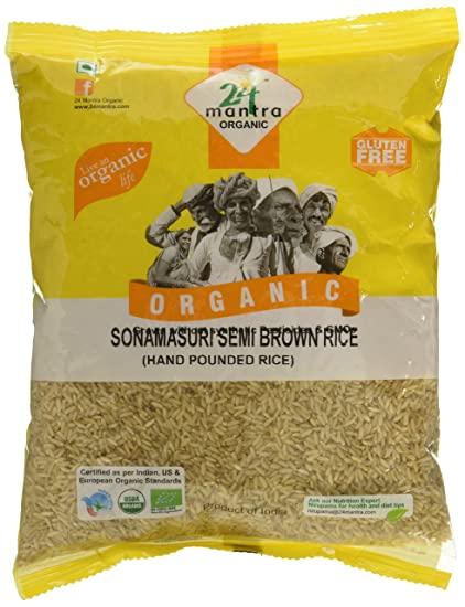 24 Mantra Organic Sonamasuri Raw Semi Brown Rice Handpounded, 1kg
