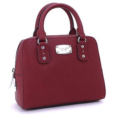 Amazon.com  Michael Kors Saffiano Leather Mini Satchel Cherry  Clothing f1f67b0f4b6f7