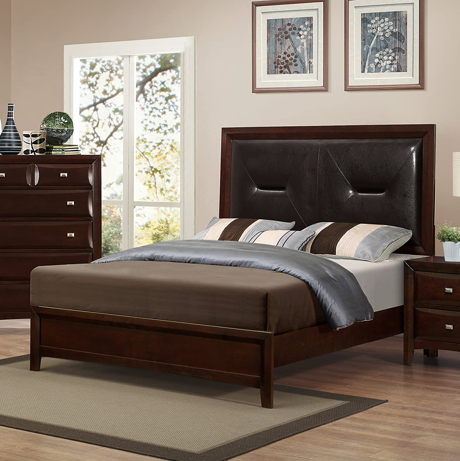 Roundhill Furniture Mateo 077 Cappuccino Finish Wood Queen Size bed - Queen