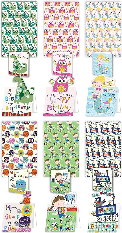 Lujo parachoques Pack de tarjetas y papel de regalo para los niños – 6 hojas con tarjetas de cumpleaños y a juego Mini tarjeta etiquetas de regalo: Amazon.es: Oficina y papelería