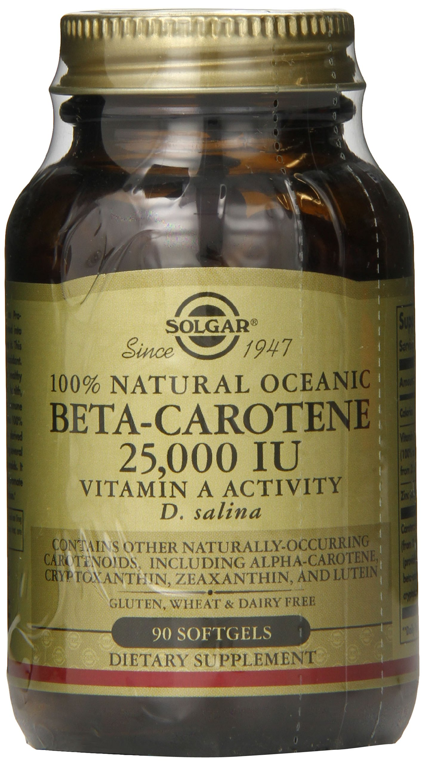 Solgar Oceanic Beta Carotene 25,000 IU Softgels, 90 Count