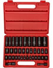 "Neiko® 02443A Complete 3/8"" and 1/2"" Drive Impact Socket Set, CR-V Steel | SAE & Metric | Deep & Shallow | 38-Piece Set"
