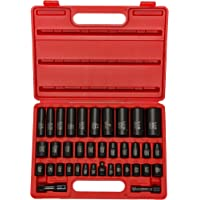 Neiko 02443A 3/8″ and 1/2″ Drive Master Impact Socket Set, 38 Piece Deep and Shallow Assortment | Standard SAE (Inch) and Metric (mm) Sizes | Cr-V Steel