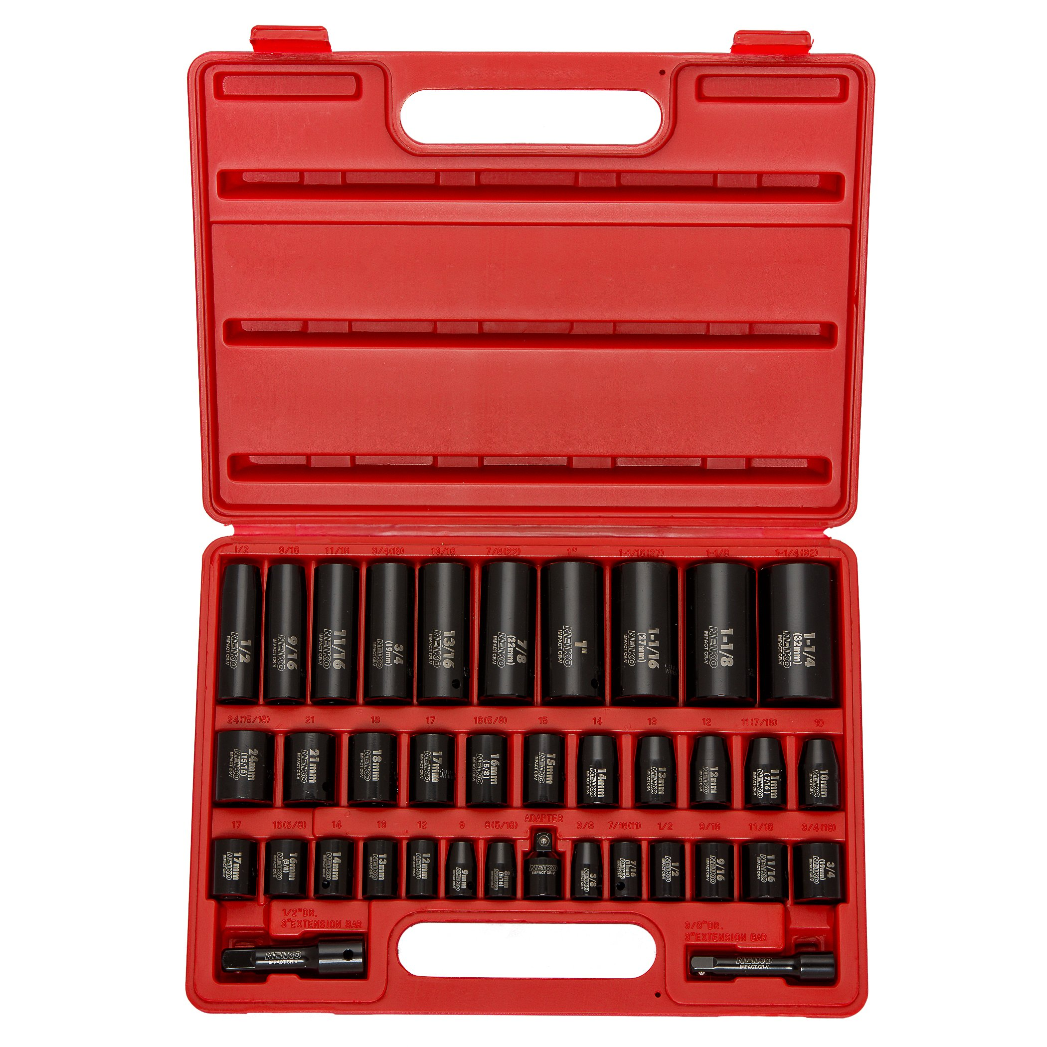 Neiko 02443A Complete 3/8'' and 1/2'' Drive Impact Socket Set, 38 Piece   CR-V Steel, 6-Point   SAE & Metric, Deep & Shallow