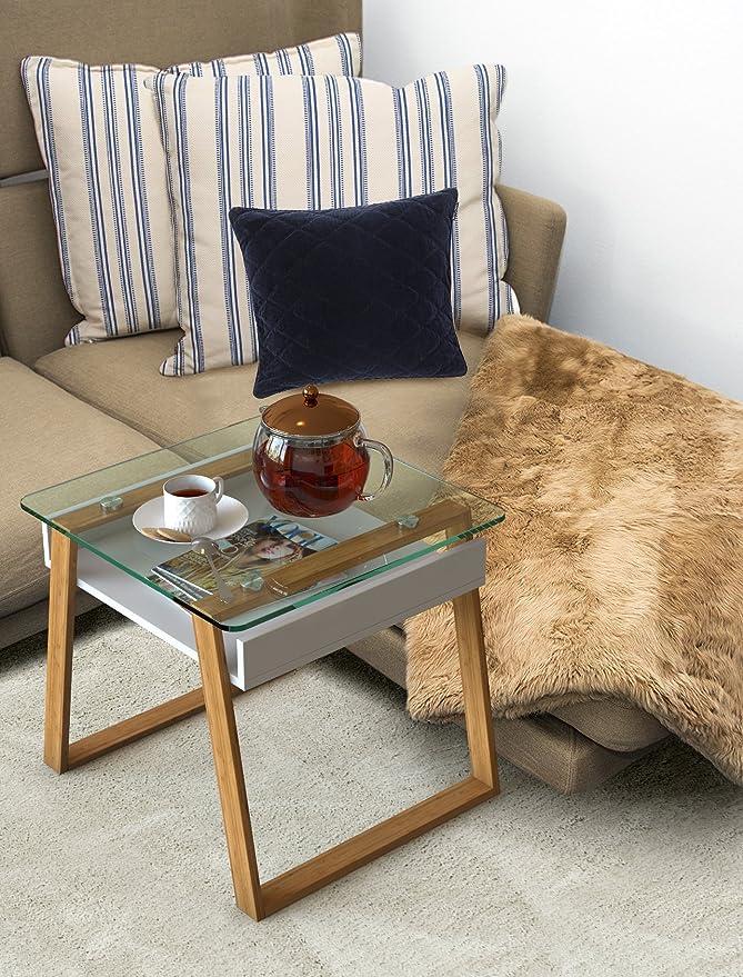 bonVIVO Pablo, Mesa Pequeña Auxiliar Puede Usarse como Mesa de Café Moderna o Mesa Auxiliar para el Salón - Mesas de Cristal para Cocina - Mesita de ...