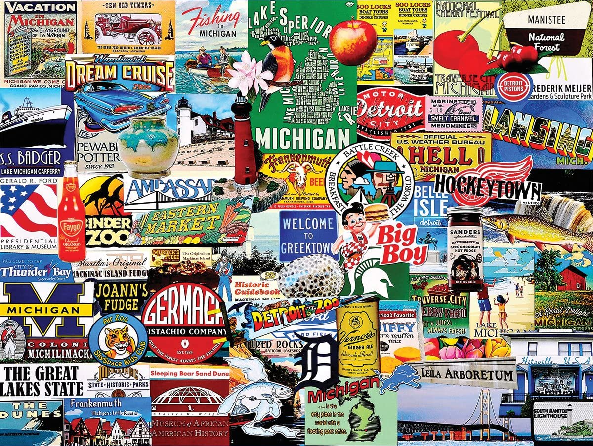 White Mountain Puzzles Michigan Collage - 1000 Piece Jigsaw Puzzle